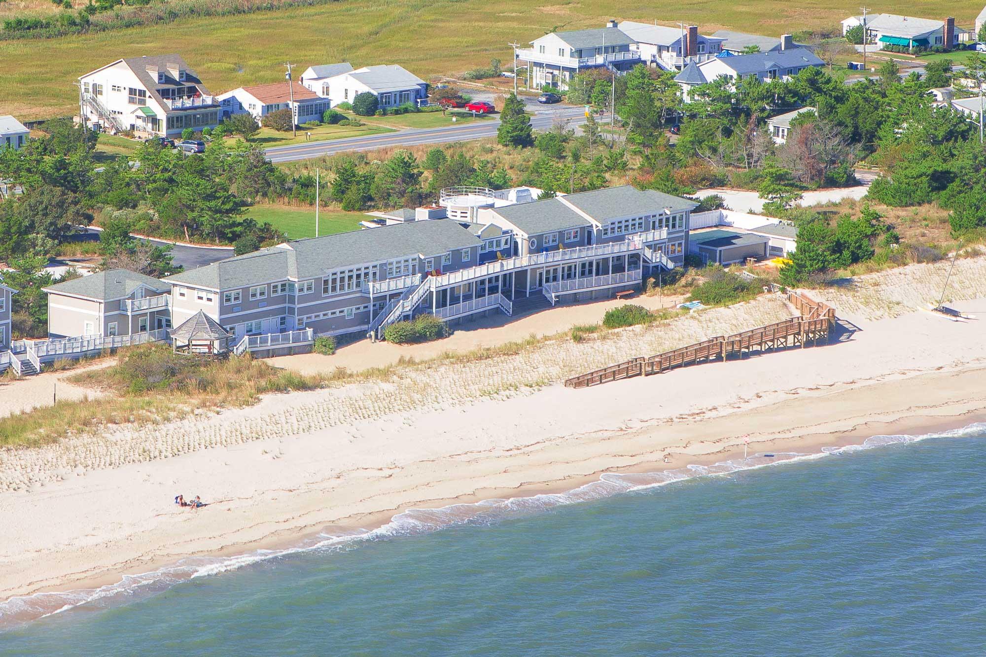 Beach wedding venue aerial view.