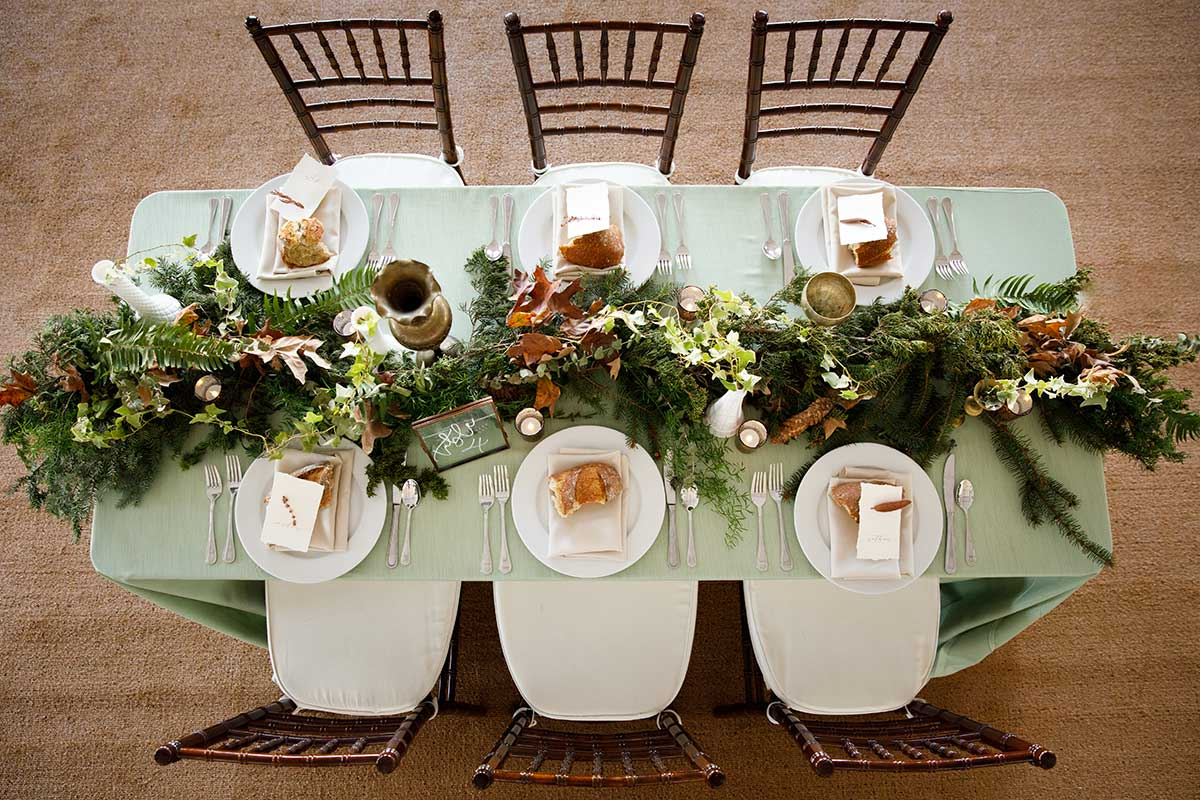 Wedding catering decorated table from above.